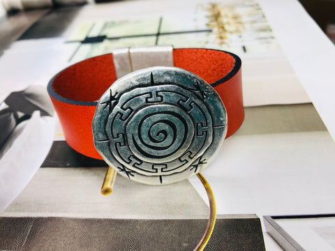 Green Silver Circle Leather Bracelet