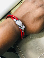 Red Leather & Rhinestone Wrap Clasp Bracelet