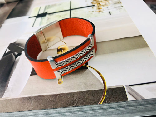 Orange Double Silver Leather Bracelet
