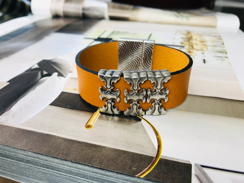 Metallic Silver Bling Leather Bracelet