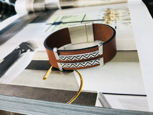 Tan Double Silver Leather Bracelet