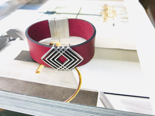 Burgundy Triangle Leather Bracelet