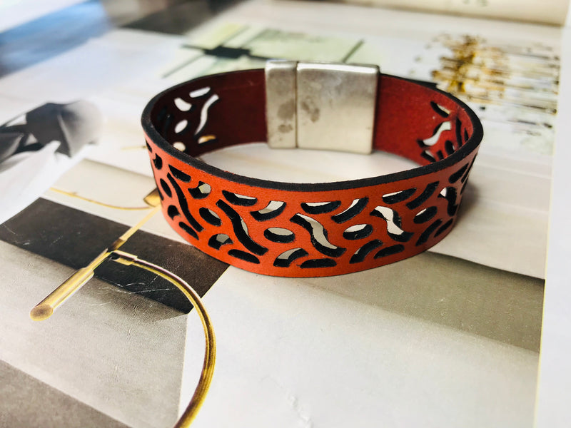 Orange Laser Cut Leather Bracelet