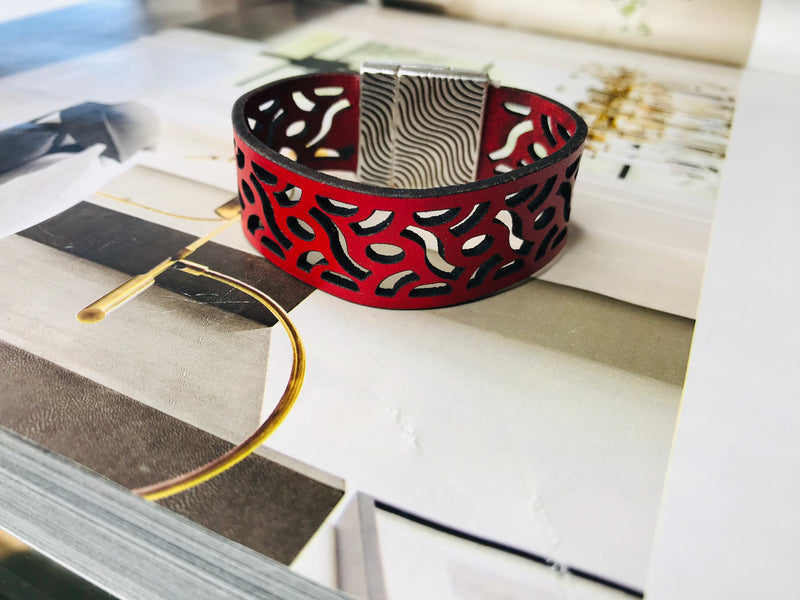 Red Laser Cut Leather Bracelet