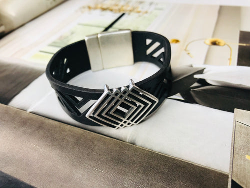 Black Laser Cut Triangle Leather Bracelet