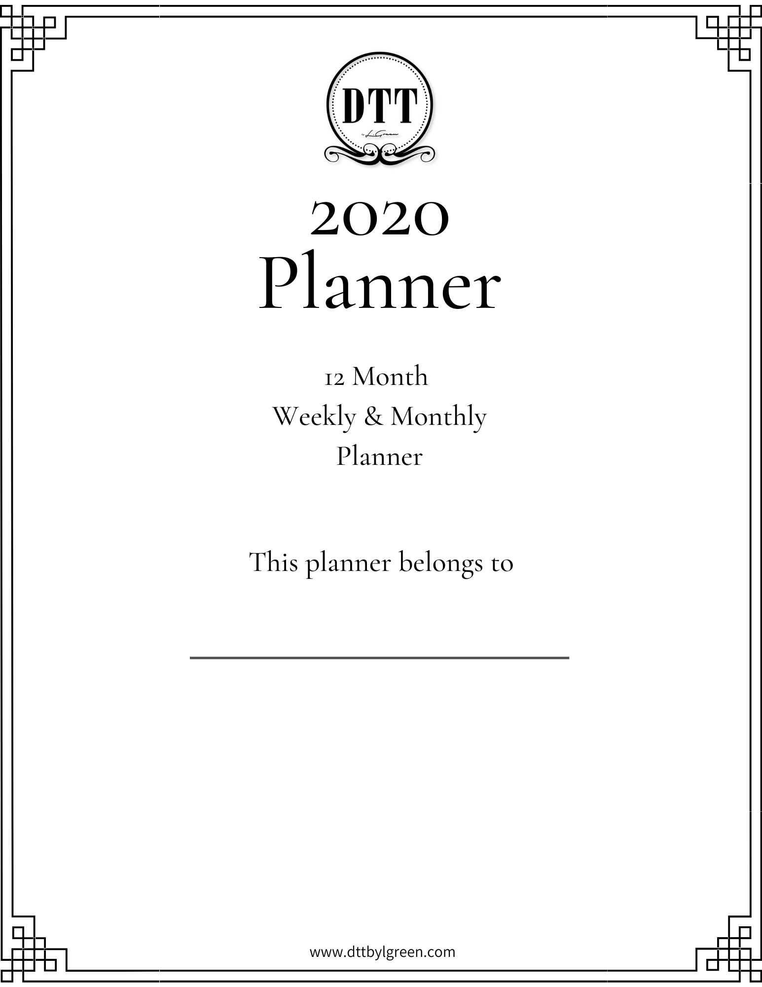 DTT Lifestyle + Beauty 2020 Planner