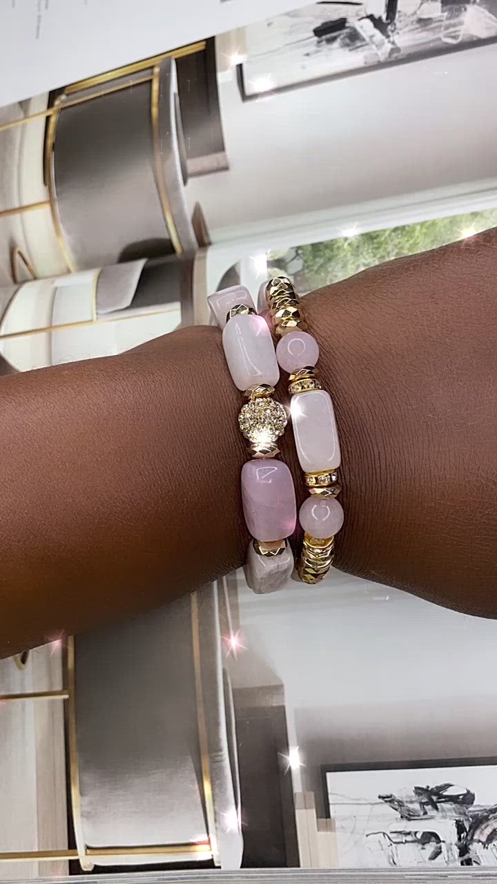 Rose Quartz & Hematite Gemstone 2 Piece Bracelet Set
