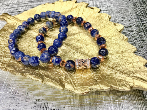 Men's Orange Sodalite Gemstone 2 Piece Bracelet Set