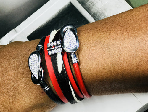 Double Red Leather & Calfskin Rhinestone 3 Piece Bracelet Set