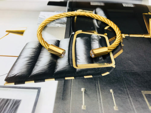 Gold Twist Cable Stainless Steel Bracelet
