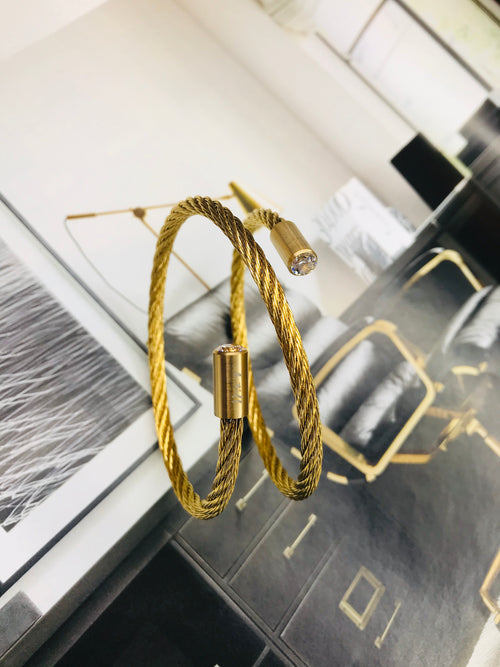 Gold Double Wrap Twist Cable Stainless Steel Bracelet