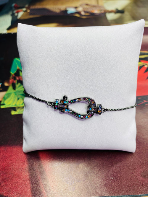 Rhinestone Buckle Black Chain Adjustable Bracelet