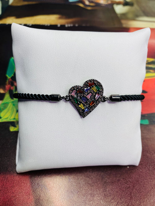 Rhinestone Heart  w/ Black Rope Adjustable Bracelet
