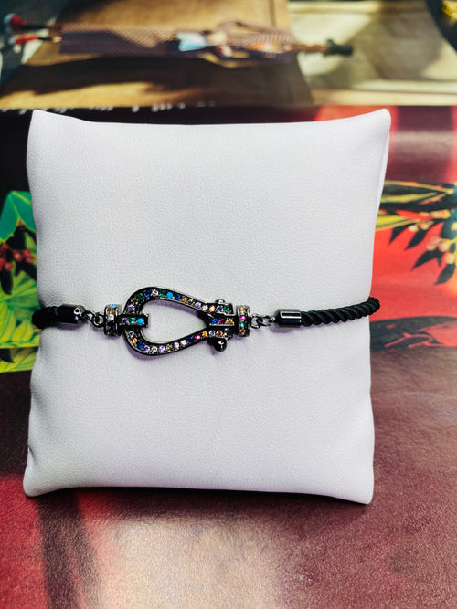 Rhinestone Buckle Black w/ Black Rope Adjustable Bracelet