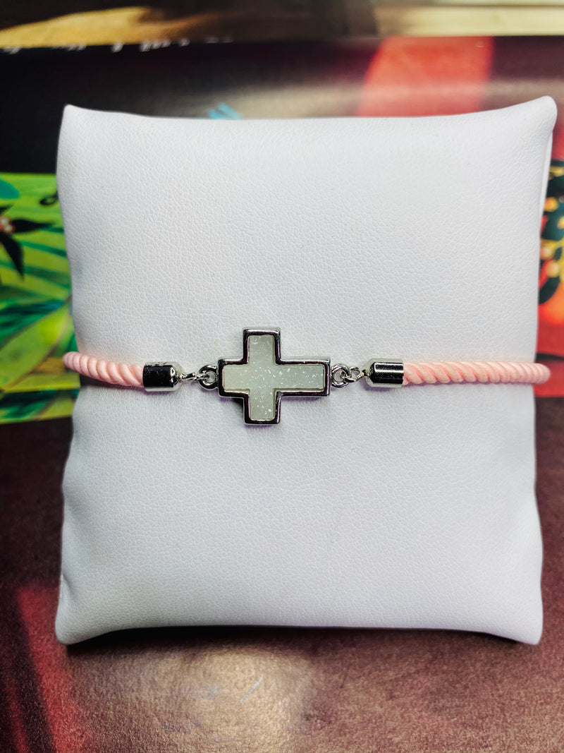 Opal Cross Druzy Gemstone w/ Pink Rope Adjustable Bracelet with Silver Finishing