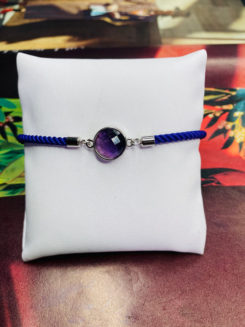 Circle Amethyst Gemstone w/ Purple Rope Adjustable Bracelet with Silver Finishing