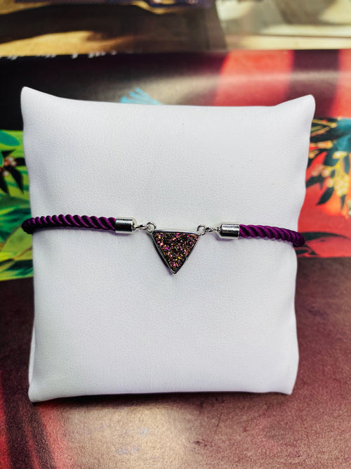 Triangle Druzy Gemstone w/  Plum Rope Adjustable Bracelet with Silver Finishing