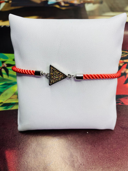 Triangle Druzy Gemstone w/ Coral Rope Adjustable Bracelet with Silver Finishing