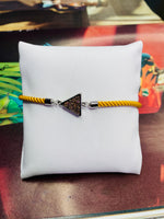 Triangle Druzy Gemstone w/  Mustard Rope Adjustable Bracelet with Silver Finishing