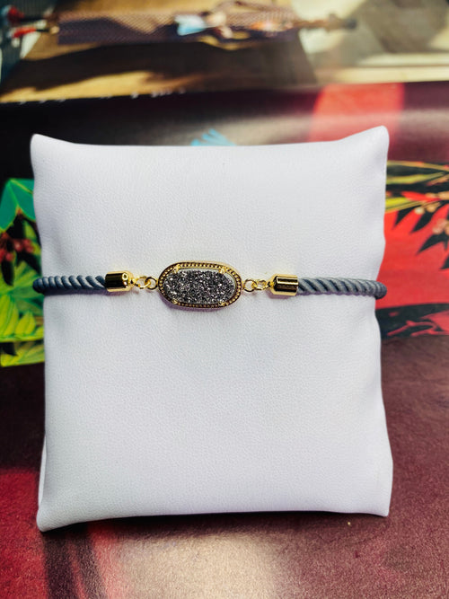 Oval Druzy Gemstone w/ Grey Rope Adjustable Bracelet with Gold  Finishing