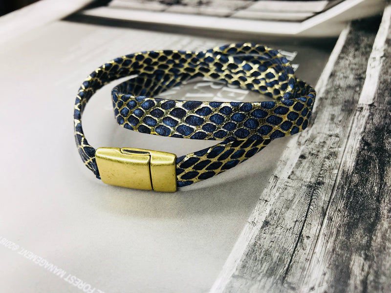 Blue /Gold Snakeskin Leather Wrap Bracelet