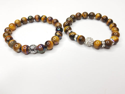 His & Hers 2 Bracelet Tiger Eye Gemstone Set