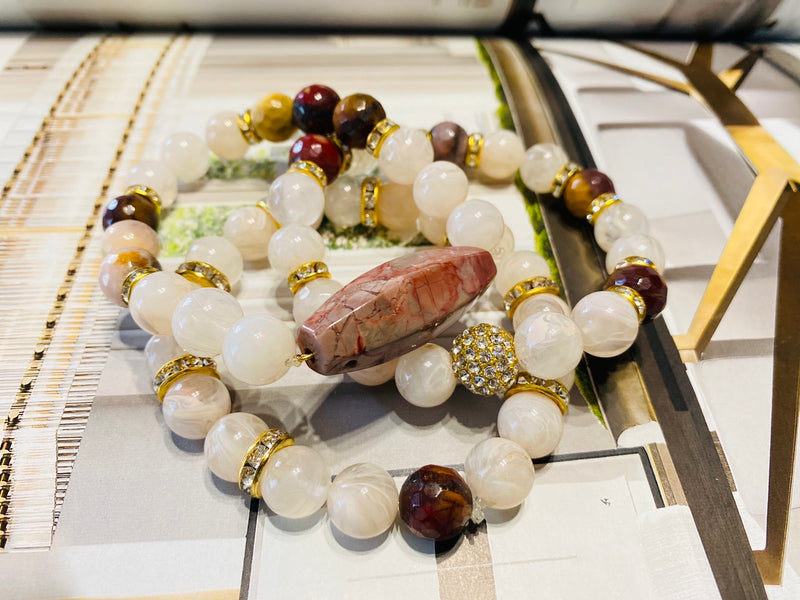 Cream Beaded Mookaite Gemstone 2 Piece Bracelet Set