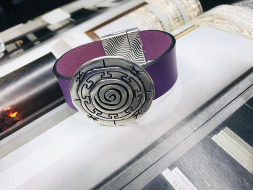 Purple Silver Circle Leather Bracelet