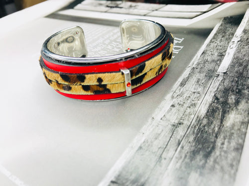 Red Double Leather & Calfskin Cuff 20mm Bracelet