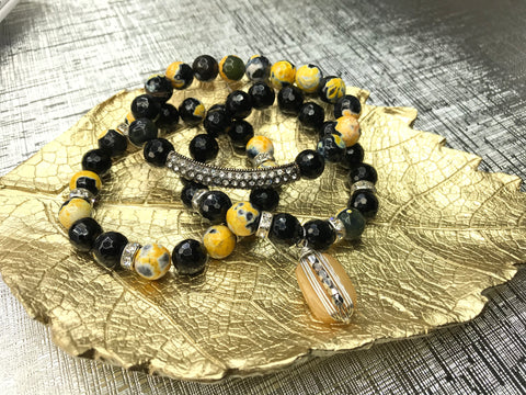 Navy Gemstone 3 Piece Bracelet Set