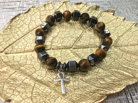 Men's White Faceted Howlite Cross Gemstone Bracelet
