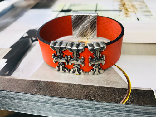 "Orange ""3 T"" Silver Leather Bracelet"