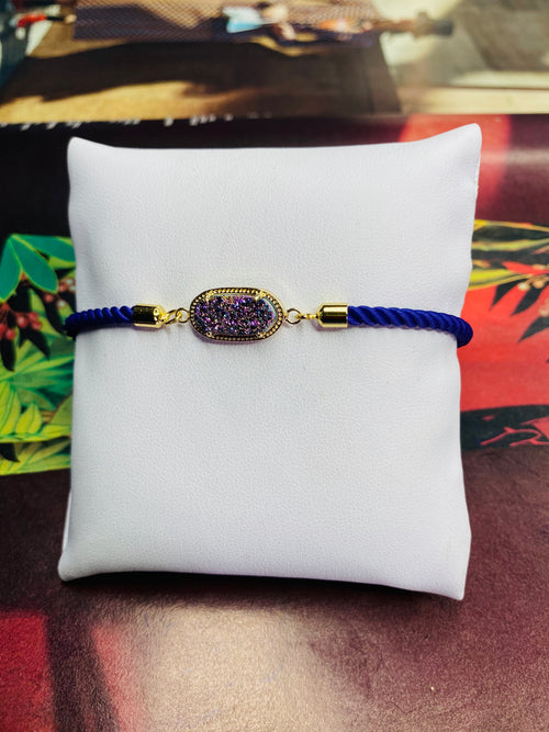Oval Druzy Gemstone w/ Blue Rope Adjustable Bracelet with Gold  Finishing