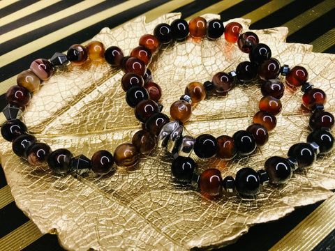 Pumpkin Agate Gemstone Tassel 3 Piece Bracelet Set
