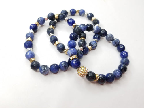 Sodalite Gemstone 3 Piece Bracelet Set