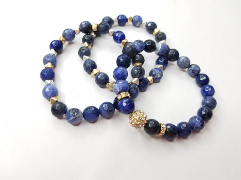 Blue Howlite Gemstone Flower 3 Piece Bracelet Set