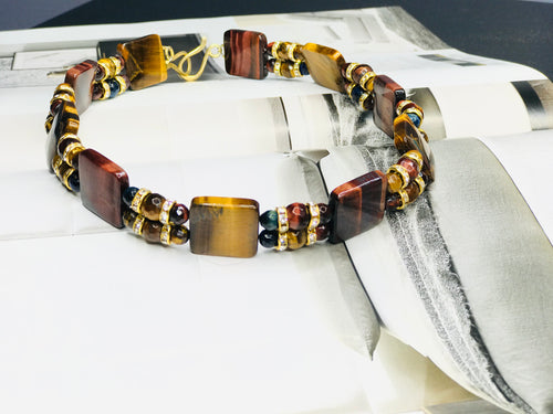 Double Tiger Eye Choker Necklace
