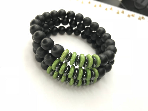 Men's Green Spiral Bracelet 3 Piece Set