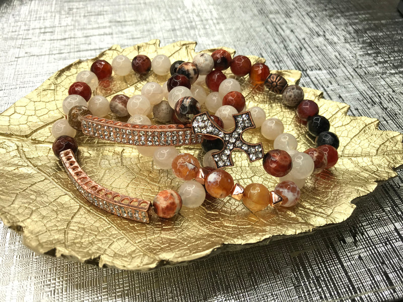 Jasper Gemstone 4 Piece Bracelet Set