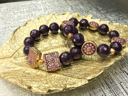 Purple/Gold Jade Gemstone 2 Piece Bracelet Set