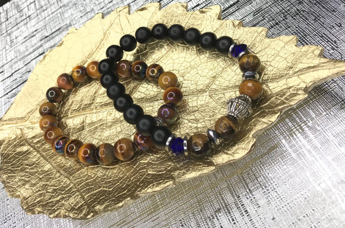 Men's Multi Stone & Tiger Eye 2 Piece Bracelet Set