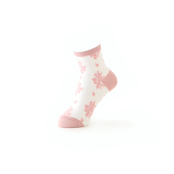 Floral Sheer Tulle Ankle Socks