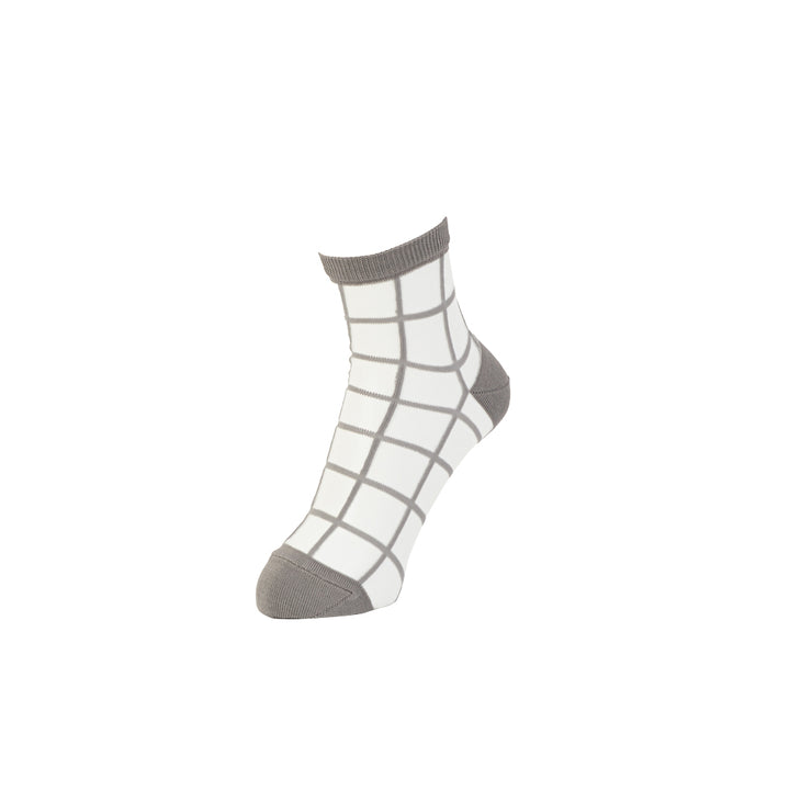 Windowpane Fit Sheer Ankle Socks