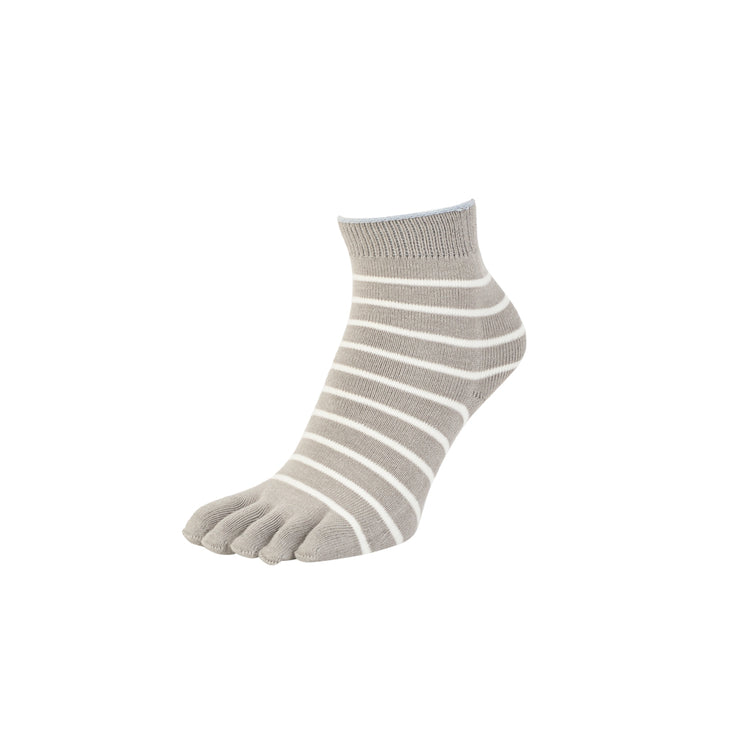Striped Cotton Toe Ankle Socks
