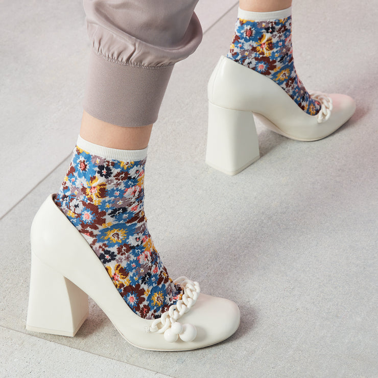 Floral Sheer Cotton Ankle Socks