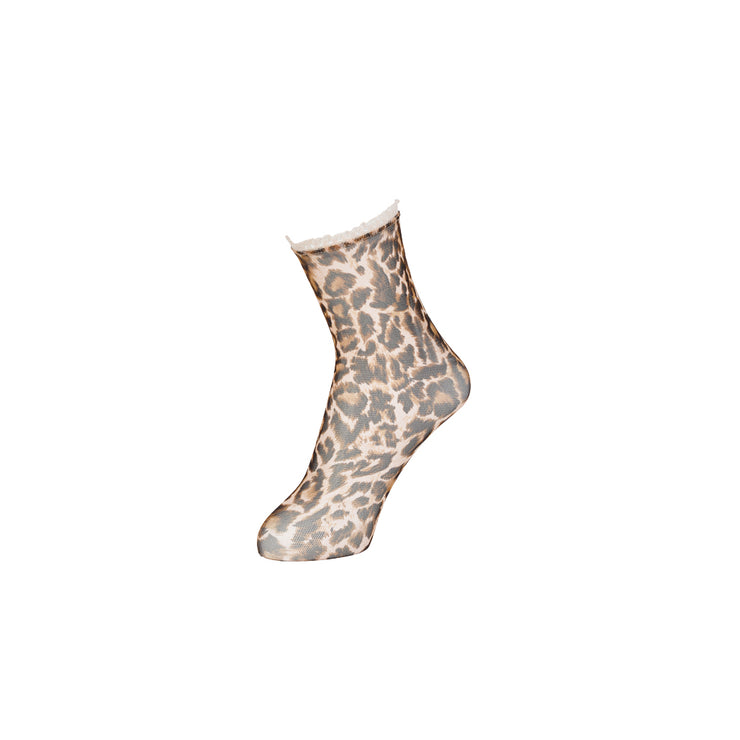 Leopard Sheer Ankle Socks