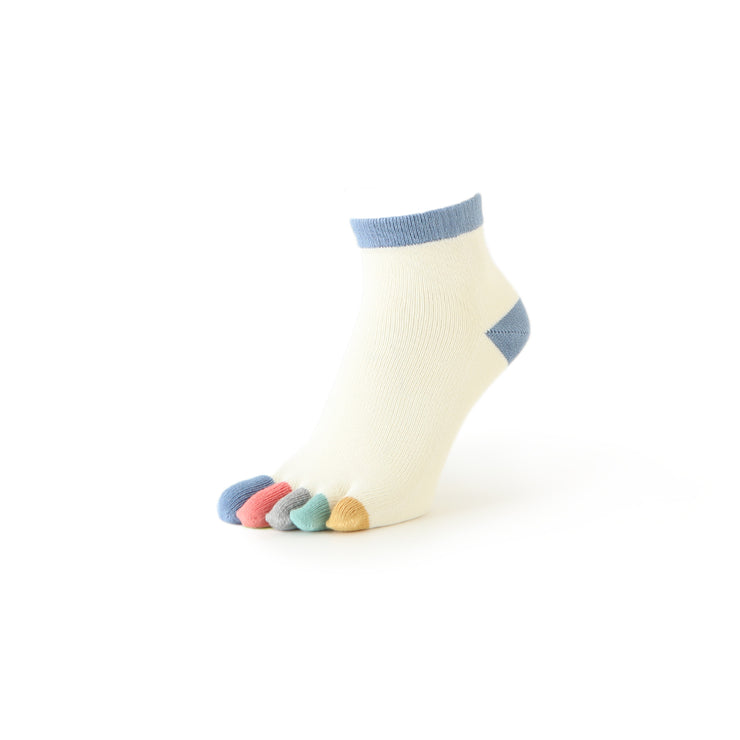 Women's Colorful Toes Anti-Odor Cotton Short Crew Socks