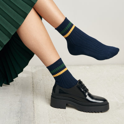 Women's Striped Anti-Odor Cotton Short Crew Socks