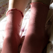 Loose Fit Rib Cotton Toe Crew Socks
