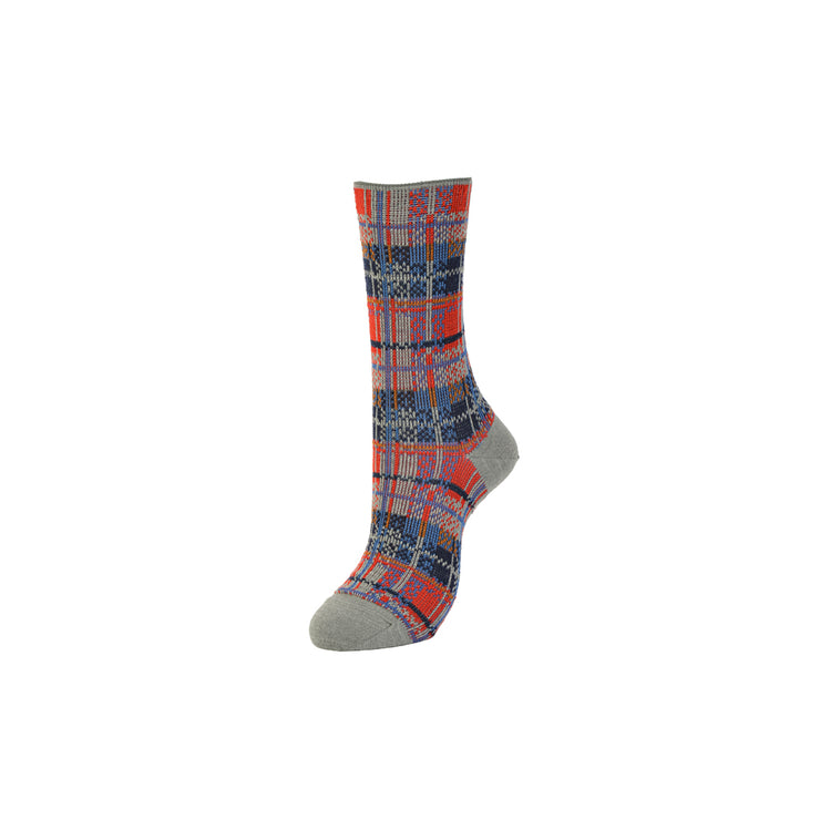 Multi-Color Plaid Jacquard Wool Crew Socks